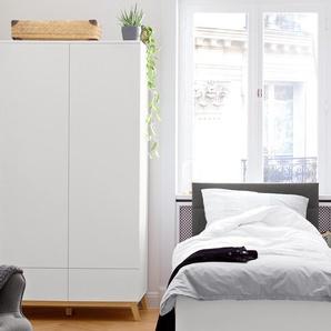 2-türiger Kleiderschrank – 100 cm - weiß - Holz -