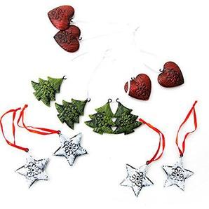 2 x 12 kleine Metallanhänger rot weiß grün Weihnachtsanhänger BAUM HERZ STERN rustikal vintage nostalgisch mit Schnur Baumschmuck Christbaumschmuck aus Blech zum Aufhängen an Weihnachten