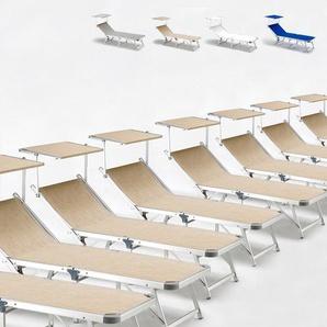 20 Sonnenliegen aus Aluminium klappbar mit Sonnendach für Strand Meer GABICCE | Beige - BEACH AND GARDEN DESIGN