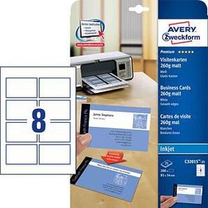 200 AVERY Zweckform Visitenkarten C32015-25 weiß