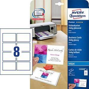 200 AVERY Zweckform Visitenkarten C32028-25 weiß