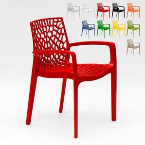 22 Sessel Stühle Gartenstühle Terrasse Grand Soleil GRUVYER ARM   Rot