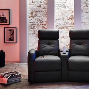 2er Cinema Sessel in schwarzem Kunstleder mit Körperdruckverstellung, 2 Getränkehalter, 1 Stauraumfach in der Armlehne, Maße: B/H/T ca. 161/104/85 cm