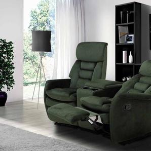 2er Cinema Sessel mit grünem Samt bezogen, Relaxfunktion, Aufbewahrungsfach und 2 Getränkehalter, Maße: B/H/T ca. 164/105/90 cm