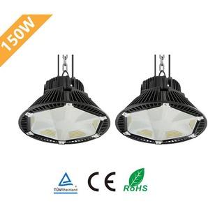 2er Anten PET-Reflektionsdesign LED Hallenstrahler 150W UFO Kaltweiß(5700-6500K), LED Hallenbeleuchtung LED High Bay Licht 130LM/W Schutzart IP65, 120°Abstrahlwinkel
