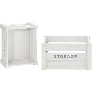2er Set Aufbewahrungskiste  Storage ¦ weiß ¦ Paulownia ¦ Maße (cm): B: 28 H: 18,5 T: 35 Aufbewahrung  Körbe - Höffner