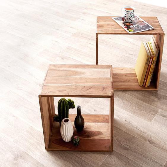 2er-Set-Cube Eolo 50x30 cm Akazie Natur Massivholz, Regalwürfel