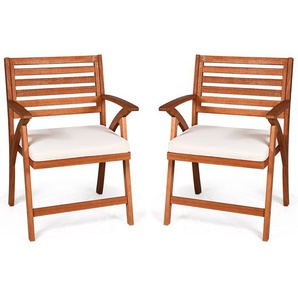 2er Set Gartenstühle Terrassenstühle Holzstuhl Balkonstuhl Gartensessel mit Kissen