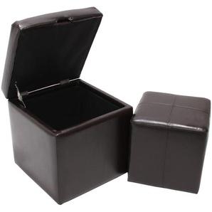 2er Set Hocker Sitzwrfel Sitzhocker Aufbewahrungsbox Onex, LEDER, 45x44x44cm ~ braun