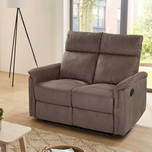 2er Sofa in braunem Microfaser bezogen mit Liegefunktion, Maße: B/H/T ca. 130/100/90 cm
