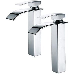 2er Wasserhahn Bad Chrom Einhebelmischer Waschtischarmaturen mit Hoher Wasserfall Auslauf für Badezimmer Waschbecken - HOMELODY