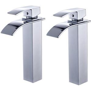 2er Wasserhahnn Bad Design verlängerte Einhebel Waschtischarmatur Armatur Wasserfall Einhandmischer für Badzimmer - AURALUM
