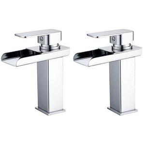 2er Wasserhahnn Bad Design verlängerte Einhebel Waschtischarmatur Armatur Wasserfall Einhandmischer für Badzimmer - HOMELODY