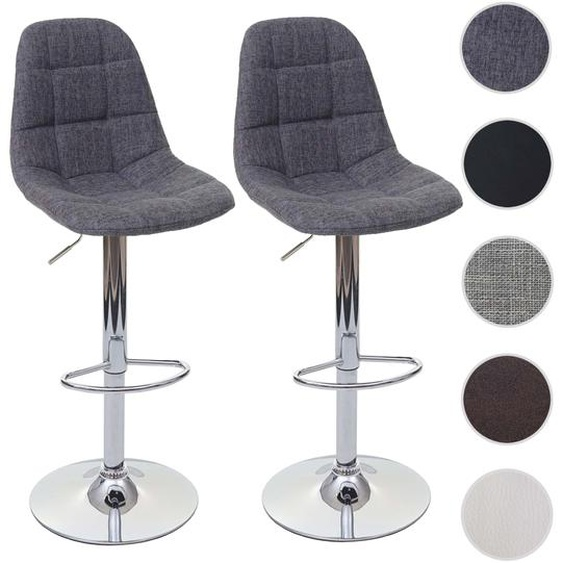 2x Barhocker HWC-A67, Barstuhl Tresenhocker ~ grau, Textil