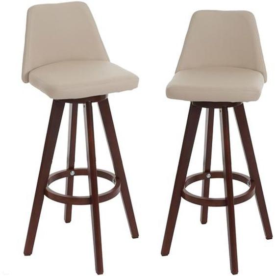 2x Barhocker HWC-C43, Barstuhl Tresenhocker, Holz Kunstleder drehbar ~ creme, dunkle Beine