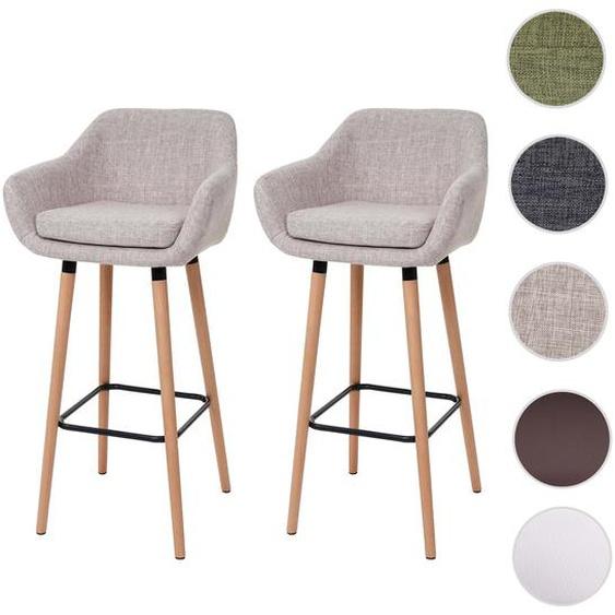 2x Barhocker Malm� T381, Barstuhl Tresenhocker ~ Textil, creme grau