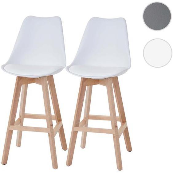2x Barhocker Malm� T501, Retro Design ~ wei�, Sitzfl�che Kunstleder wei�, helle Beine