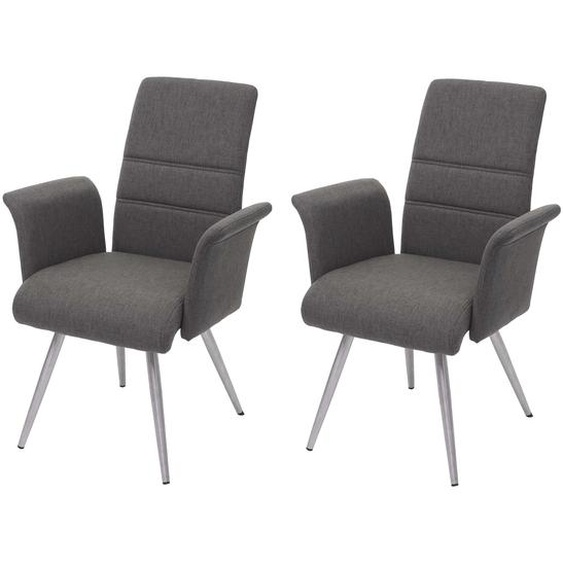 2x Esszimmerstuhl HWC-G55, K�chenstuhl Stuhl mit Armlehne, Stoff/Textil Edelstahl geb�rstet ~ grau