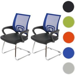 2x Konferenzstuhl Ancona, Besucherstuhl, Kunstleder ~ blau