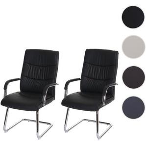2x Konferenzstuhl HWC-A49, Besucherstuhl Freischwinger, Kunstleder ~ schwarz