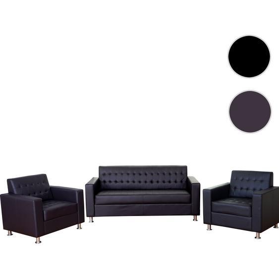 3-1-1 Sofagarnitur Kunda, Couch Loungesofa Kunstleder, Metall-F��e ~ coffee