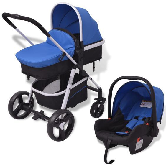 3-in-1 Kinderwagen Aluminium Blau und Schwarz