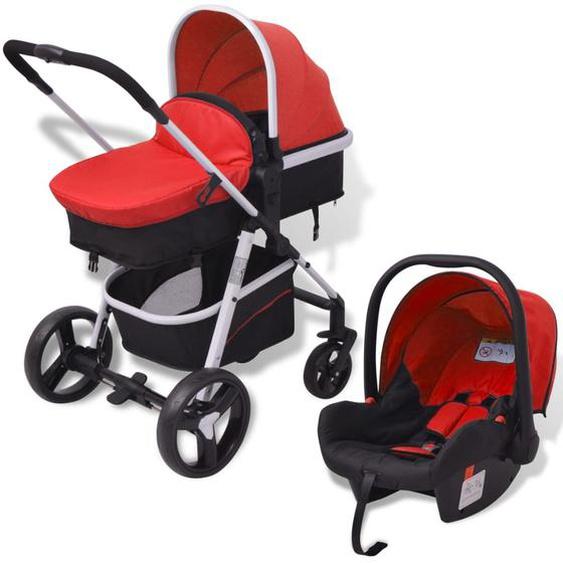 3-in-1 Kinderwagen Aluminium Rot und Schwarz