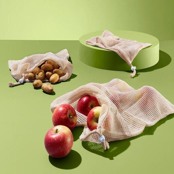 3 Obst- und Gemüsebeutel - hellblau - Wolle -