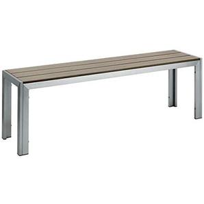 3-Sitzer Bank Artless, 144x45x34cm (BxHxT), Sitz grau, Gestell silber, 1 Stück