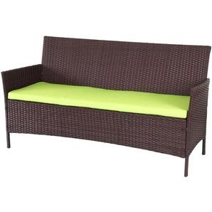 3-Sitzer Poly-Rattan Gartenbank Hamar, Sitzbank ~ braun-meliert, Kissen grün - HHG