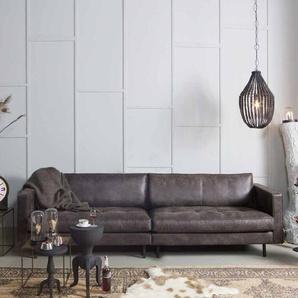 3 Sitzer Sofa aus Recycling Leder Schwarz
