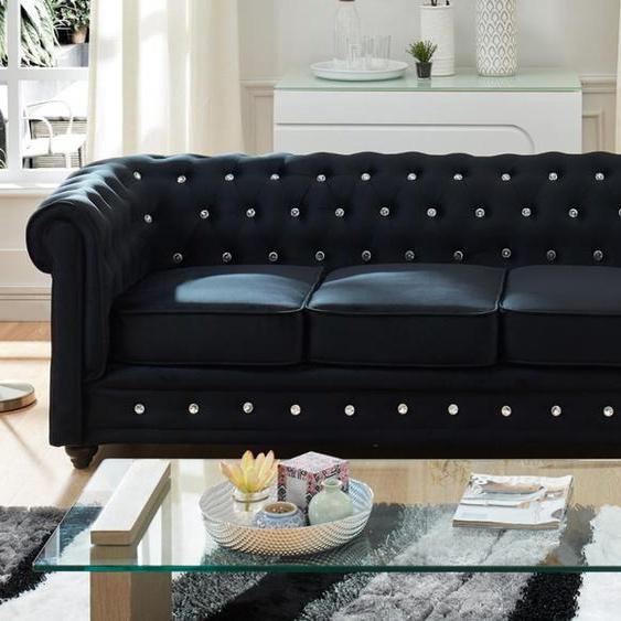 3-Sitzer-Sofa Chesterfield Samt ANNA - Schwarz mit Kristallknöpfen