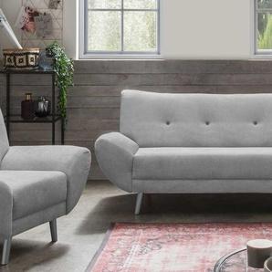 3-Sitzer-Sofa in Microfaser hellgrau, Knöpfe in rosa, mit einer Wellenunterfederung, inkl. 2 Kissen Maße: B/H/T ca. 174/82/87 cm