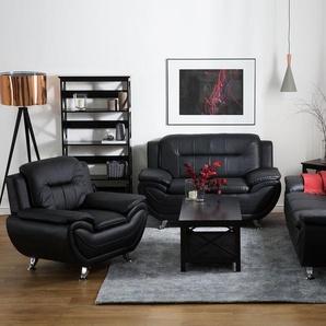 3-Sitzer Sofa Kunstleder schwarz LEIRA
