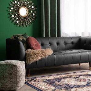 3-Sitzer Sofa Leder schwarz BYSKE