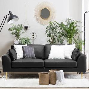 3-Sitzer Sofa Leder schwarz TORGET