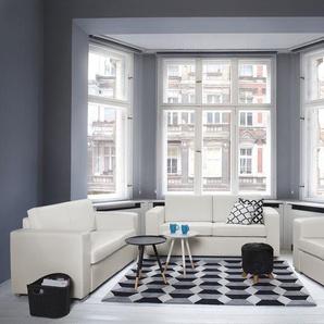 3-Sitzer Sofa Leder weiss HELSINKI