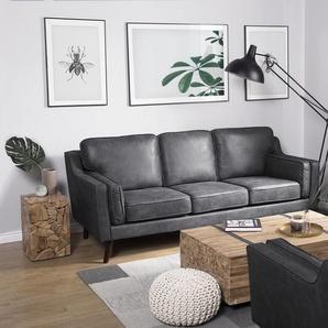 3-Sitzer Sofa Lederoptik grau LOKKA