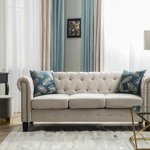 3-Sitzer Sofa Polsterbezug beige gerade Beine CHESTERFIELD