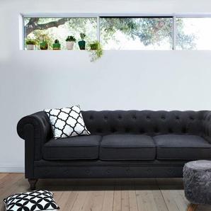 3-Sitzer Sofa Polsterbezug graphitgrau CHESTERFIELD