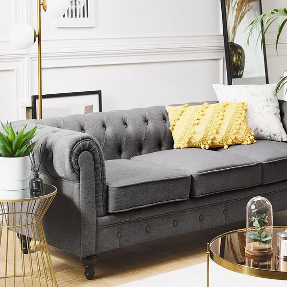 3-Sitzer Sofa Polsterbezug grau CHESTERFIELD