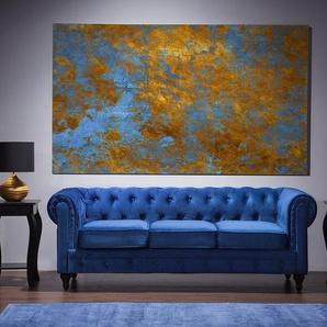 3-Sitzer Sofa Samtstoff kobaltblau CHESTERFIELD