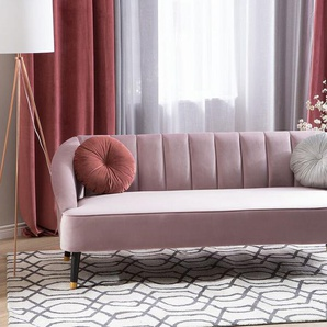 3-Sitzer Sofa Samtstoff rosa ALSVAG