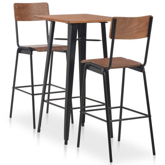 3-teiliges Bar-Set Stahl Braun Schwarz