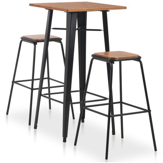3-teiliges Bar-Set Stahl Schwarz Braun