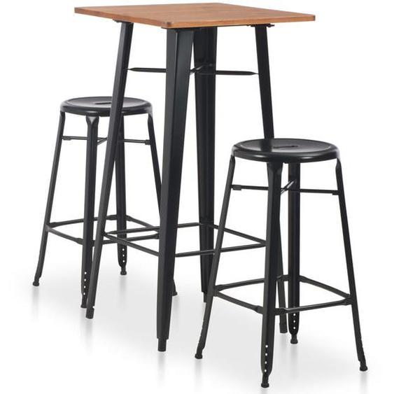 3-teiliges Bar-Set Stahl Schwarz