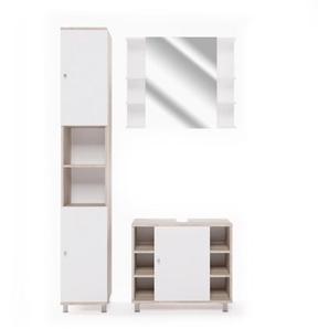 3-tlg Badmöbel-Set Villareal mit Spiegel