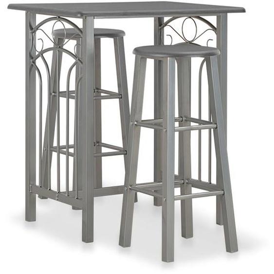 3-tlg. Bar-Set Holz und Stahl Anthrazit