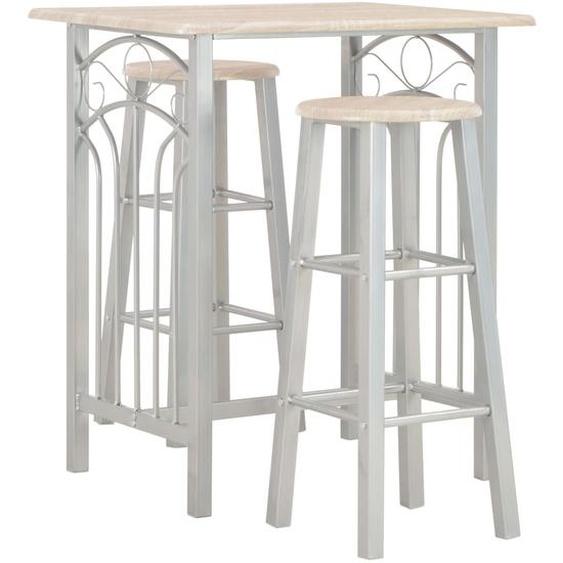 3-tlg. Bar-Set Holz und Stahl