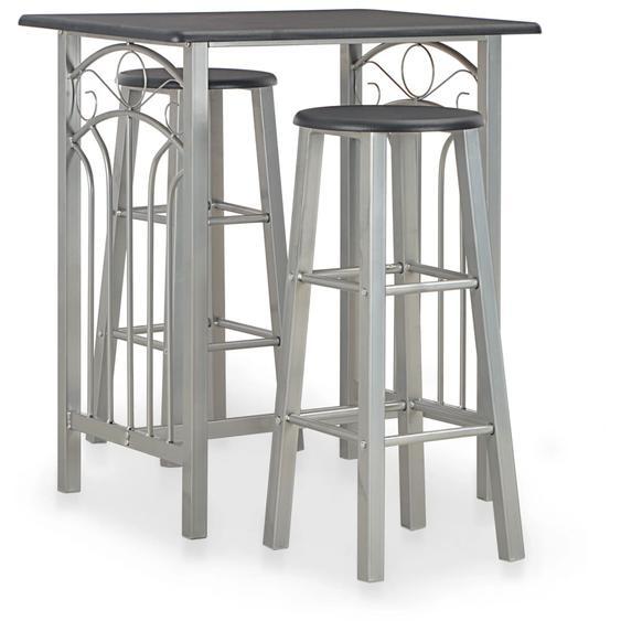 3-tlg. Bar-Set Holz und Stahl Schwarz